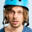 Funny man wearing cycling helmet portrait real high defin — Stock Photo #20387029