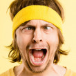 Funny man portrait real high definition yellow background — ストック写真 #20387553