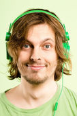 Happy man portrait real high definition green background — Stock Photo