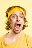Funny man portrait real high definition yellow background — Stock Photo