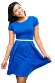 Sexy mixed race woman pretty blue dress isolated on white background — Stock Photo