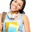 Happy mixed race student back to school isolated on white backgr — Stock Photo