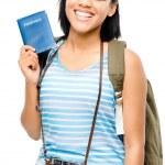 Happy tourist holding passport camera photographer woman — Stock Photo #27372209
