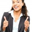 Attractive African American businesswoman thumbs up isolated on — Stock Photo