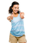 Happy mixed race woman thumbs up isolated on white background — Stock Photo