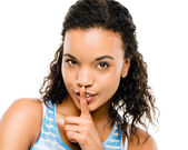 Sexy african woman finger on lips — Stock Photo
