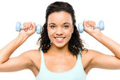 Healthy young mixed race woman exercising isolated on white back — Stock Photo
