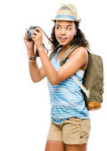 Happy African American woman tourist isolated on white backgroun — Stock Photo
