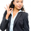 Attractive African American businesswoman okay sign isolated on — Stock Photo