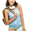Happy mixed race woman student going back to school — Stock Photo #27384019