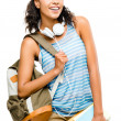 Happy black woman student going back to school — Stock Photo