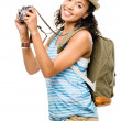 Happy African American woman tourist isolated — Stock Photo