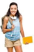 Happy hispanic woman student going back to school — Stock Photo