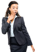 Attractive African American businesswoman pointing isolated on w — Stockfoto