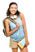 Happy mixed race woman student going back to school — Stock Photo