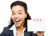 Pretty African American Businesswoman holding placard isolated o — Stock Photo