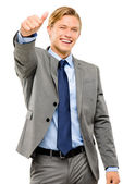 Happy businessman thumbs up isolated on white background — Stock Photo