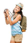 Szczęśliwy turysta african american kobieta na białym tle — Zdjęcie stockowe