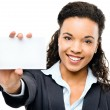 Pretty African American Businesswoman holding placard  — Stock Photo