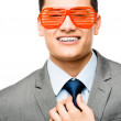Funy crazy man face businessman — Stockfoto