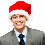 Mixed race businessman celebrating christmas isolated — Stock Photo
