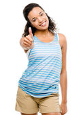 Happy latino woman thumbs up isolated on white background — Stock Photo