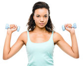 Healthy young mixed race woman exercising — Stock Photo