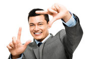 Asian man finger frame happy — Stock Photo