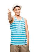 Kciuki w górze degenerat łacińskiej fajny student szczęśliwy młodość na białym tle — Zdjęcie stockowe
