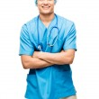 Medical doctor nurse latin american mixed race hispanic happy me — Stock Photo #27404381