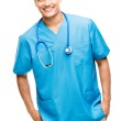 Medical doctor nurse latin american mixed race hispanic happy me — Stock Photo #27404513