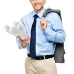 Happy young businessman architect on white background — Stock Photo