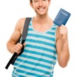 Happy tourist man travel passport adventure — Stock Photo