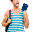 Stock Photo: Happy tourist man travel passport adventure