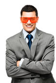 Funy crazy man face businessman — Stock Photo