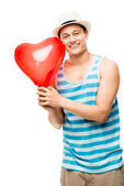Latino lover man valentines day heart love balloon — Stock Photo