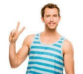 Happy man peace sign isolated white background — Stock Photo