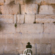 One man praying in the wailing wall - Stock Photo