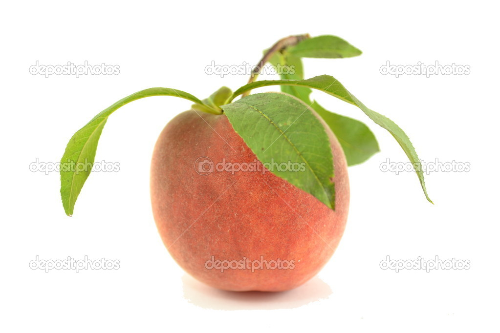 Peach with leaves isolated on white background. — Stock Photo #13220411