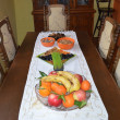 Stock Photo: Fresh and dried fruits on table.