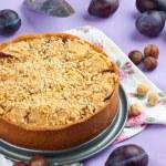 Homemade plum pie — Stock Photo