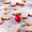Baubles and cookies — Stock Photo