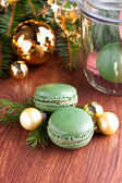 Christmas composition with macaroons — Stock Photo