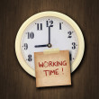 Wall clock on the wood background — Stock Photo