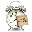 Stockfoto: Vintage clock and short note