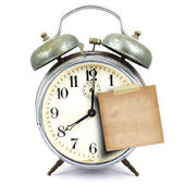 Vintage clock and short note — Stock Photo