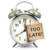 Ročník hodiny a krátkou poznámku — Stock fotografie