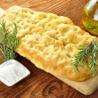 Focaccia with rosemary and olive oil — Stock Photo