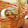 Bottle of fine italian white wine in a basket — Stockfoto