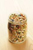 Mischung aus getrockneten hülsenfrüchte und getreide — Stockfoto